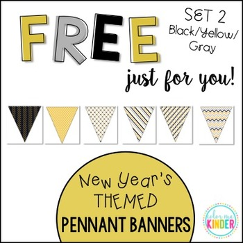 New Year's Pennant Banner Classroom Decor Set 2 Black/ Yel