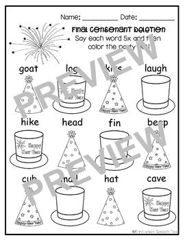 New Years Phonology Printables