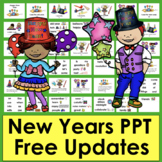 New Year's 2018 PowerPoint Presentation - 3 Reading Levels + Vocabulary Slides