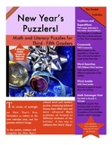 New Year's Puzzlers! 6 Math and Literacy Puzzles for 3rd - 5th Grade