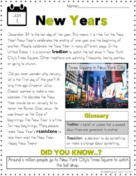 New Years Reading Passage and Flipbook