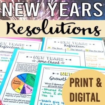 New Years Resolution 2018: No-Prep Graphic Organizers, Growth Mindset, Goals