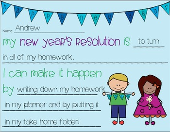 New Year's Resolution Activity