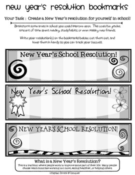 New Year's Resolution Bookmarks