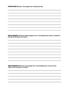 New Year's Resolution Essay Packet