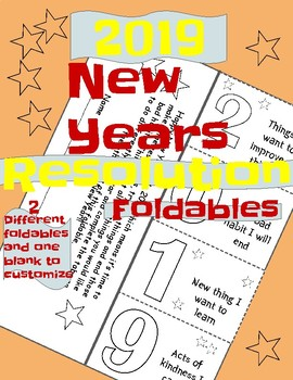 New Years Resolution Foldables 2 different foldables and one blank to customize
