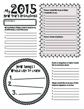 New Year's Resolution Goal Setting Form