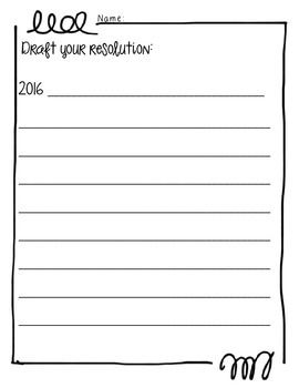 New Year's Resolution & Goals iPad digital image note-making activity