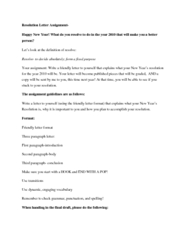 New Years Resolution Letter- Writing Grades 5-8