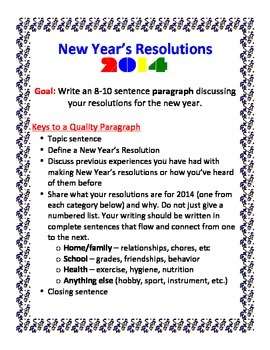 essay on my new year resolution 3 writing activities using new year resolutions for ells  a classification essay was one of the course  what new year resolution activities do you do with your.