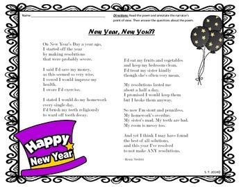 New Year's Resolution Poetry and Opinion Writing Pack