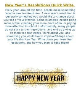 New Years Resolution Quick Write