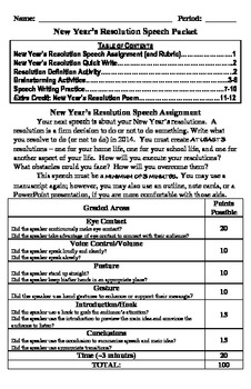 New Year's Resolution Speech Activity Packet