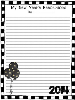 New Year's Resolution Writing Freebie New Years Stationary Template