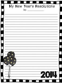 New Year's Resolution Writing Freebie New Years Stationary