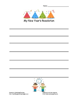 New Year's Resolution Writing - Lined Paper
