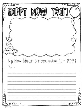 New Year's Resolution Writing Prompt FREEBIE