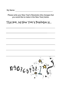 New Year's Resolution Writing Sheet