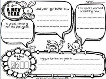 New Years Resolution Writing Templates - Whimsy Workshop Teaching