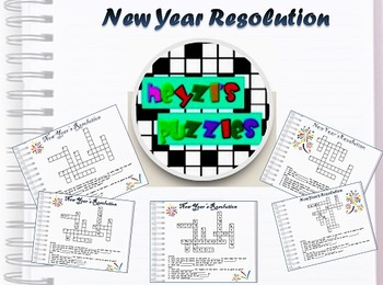New Year Resolution writing, starter activity(differentiated crossword puzzles)