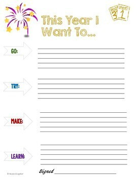 New Years Resolutions 2018 or Any Year Graphic Organizers and Printables