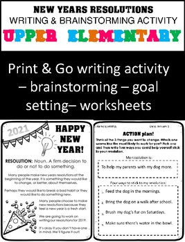 New Years Resolutions 2019 - Goal Setting Worksheets - Upper Elementary