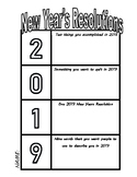 New Year's Resolutions 2019 Interactive notebook Handout