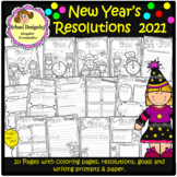 New Years Resolutions 2021 - Goals - Coloring - Writing Prompt(School Designhcf)