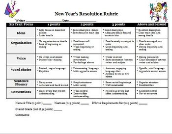 New Years 2018 Resolutions Writing Activity