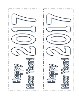 New Year's Activity- 2017 Resolution Bookmarks