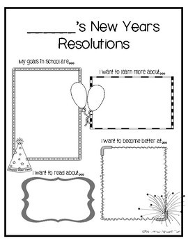New Years Resolutions Activity FREEBIE