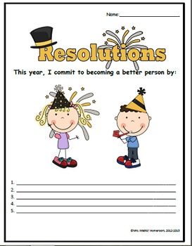 New Year's Resolutions Activity Pack