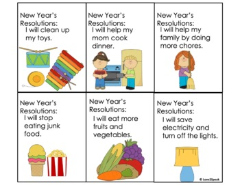 New Year's Resolutions - Discussion Cards and Picture Scenes