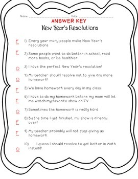 New Year's Resolutions: Fact and Opinion Practice