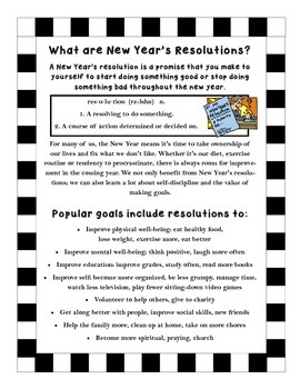 New Year's Resolutions - UPDATED 2017 - KWL, Reading, Goals, Checklists & More