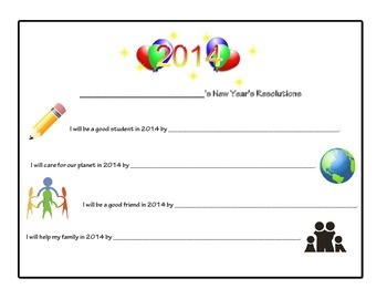 New Year's Resolutions / New Years Resolution Writing Activity