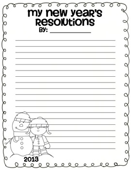 New Year's Resolutions Stationary
