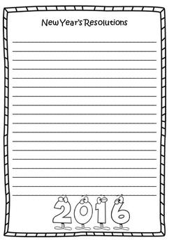 New Year's Resolutions 2016 Writing Sheet FREEBIE