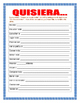 "New Years Resolutions in Spanish-""Quisiera"" AR/ER/IR Verbs"