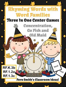 New Years Rhyming Words with Word Families Center Games and Printables