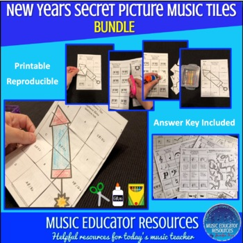 New Years Secret Picture Music Tiles (Reproducible)