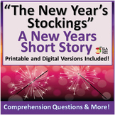 New Years Story With Comprehension Questions, and More! Printable & Digital!