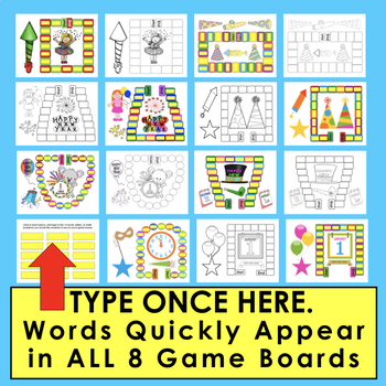 New Year 2018 Activities: 5 Sight Word Game Boards and Spinners