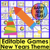 New Year's 2021 Activities: Game Boards - 8 EDITABLE Boards for Any List - Set 1