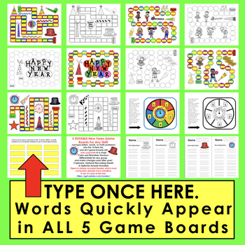 New Year's 2018 Sight Words Game Boards-Last Half of Dolch + 10 Dolch Nouns