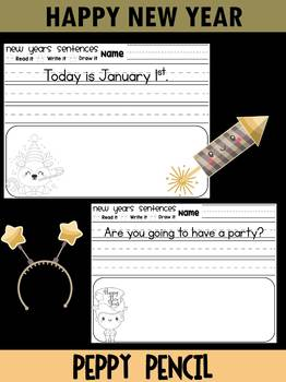 New Years Simple Sentences - Kindergarten, First Grade, Peppy Pencil  - FREEBIE