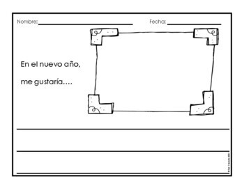 New Years Spanish Word Wall Vocabulary and Writing Activities