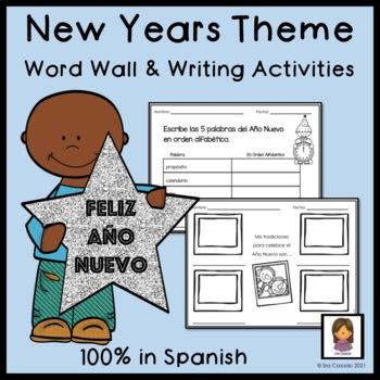 New Years Spanish Word Wall Vocabulary and Writing Activities