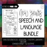 New Years Speech and Language Bundle [NO PREP and LOW PREP Activities]