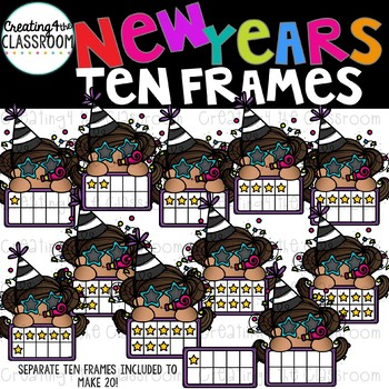 New Years Ten Frames Bundle Clipart  {New Years Clip art}